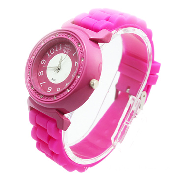 Wholesale Girls Diamond Silicone Strap Wristwatch